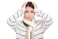 Beautiful Asian girl with scarf got headache Royalty Free Stock Photo