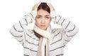 Beautiful Asian girl with scarf got headache Royalty Free Stock Photo