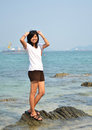Beautiful asian girl smiling beach Stock Photography