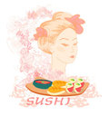 Beautiful Asian girl and sushi Stock Photography