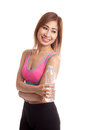 Beautiful Asian healthy girl with bottle of drinking water Royalty Free Stock Photo