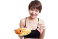Beautiful Asian healthy girl eat  french fries and  fired chicke Royalty Free Stock Photo