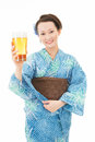 Beautiful asian kimono woman with beer Royalty Free Stock Photo