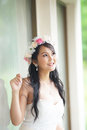 Beautiful asian lady in white bride dress model is thai ethnicity Stock Image