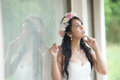 Beautiful asian lady in white bride dress model is thai ethnicity Royalty Free Stock Photos