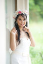 Beautiful asian lady in white bride dress model is thai ethnicity Stock Photos