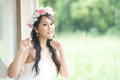 Beautiful asian lady in white bride dress model is thai ethnicity Stock Images