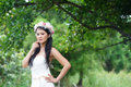 Beautiful asian lady white bride dress posing in the forest greenery background model is thai ethnicity Stock Photography