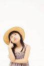 Beautiful asian little girl thinking isolated on white background Royalty Free Stock Images