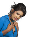Beautiful asian model indian desi teenager on studio white background Stock Images