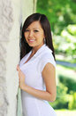 Beautiful asian model outdoors Royalty Free Stock Images