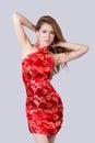 Beautiful asian model wearing traditional cheongsam studio shot Stock Photos