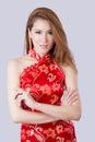 Beautiful Asian model wearing traditional Cheongsam