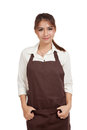 Beautiful Asian  waitress  in apron Royalty Free Stock Photo