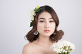 Beautiful asian woman bride on grey background. Closeup portrait Royalty Free Stock Photo
