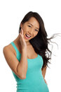 Beautiful Asian Woman hand on face Royalty Free Stock Photo