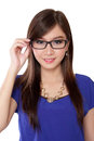 Beautiful Asian woman holding her glasses, isolated on white Royalty Free Stock Photo