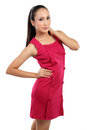 Beautiful asian woman in red Royalty Free Stock Photo