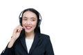 Beautiful asian woman smiling customer service talking on headset. Royalty Free Stock Photo