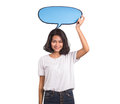 Beautiful asian woman with speak bubble on white background Royalty Free Stock Photo