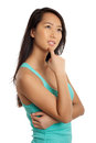 Beautiful Asian Woman thinking Royalty Free Stock Photos