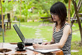 Beautiful asian woman using computer notebook in garden Stock Photos
