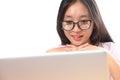 Beautiful asian woman using laptop computer on white background. Royalty Free Stock Photo