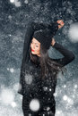 Beautiful asian woman wearing knitted hat with pompom Royalty Free Stock Photo