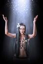 Beautiful asian woman witch making magic Royalty Free Stock Image