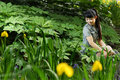 Beautiful asian women in the garden Royalty Free Stock Photos