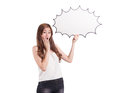Beautiful asian women with speak bubble on white background Royalty Free Stock Photo