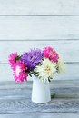 Beautiful asters in a vase on the boards bouquet flowers Stock Photos