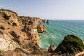 Beautiful atlantic ocean view horizon with sandy beach rocks and Royalty Free Stock Photo