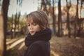 Beautiful attractive young woman autumn outdoor portrait in coat