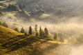 A beautiful autumn foggy landscape with lonely houses and sunny hills. Carpathian rural landscape on sunset in autumn colors. Pic