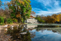 Beautiful autumn landscape in the prospect park boathouse new york brooklyn usa Royalty Free Stock Photo