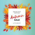 Beautiful Autumn paper cut leaves. Sale. September flyer template. Square frame. Space for text. Origami Foliage. Maple