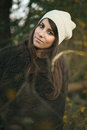 Beautiful autumn portrait of an elegant woman with wool dress Stock Photography
