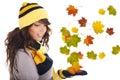 Beautiful  autumn woman. Stock Photography