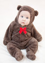 Beautiful baby in costume of bear Stock Images