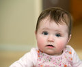 Beautiful baby in flowered dress looks at the camera Royalty Free Stock Photo