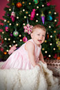 Beautiful baby girl at christmas portrait of a happy Stock Image