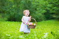 Beautiful baby girl walking with a flower basket in sunny garden Stock Images