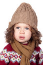 Beautiful baby girl with wool cap Stock Photos