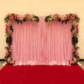 Beautiful backdrop flowers arrangement for wedding ceremony Royalty Free Stock Photos