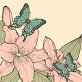 Beautiful background for card with butterflies, lily, leaves and buds   in a hand-drawn graphic style in vintage colors Royalty Free Stock Photo