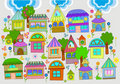 Beautiful background with colorful houses Stock Image