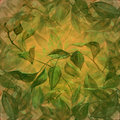 Beautiful background with green leaves mixed media illustration of a Royalty Free Stock Image