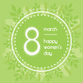 Beautiful background for international womens day. Greenery color. Floral wreath of leaves.