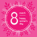Beautiful background for international womens day. Pink color. Floral wreath of leaves.